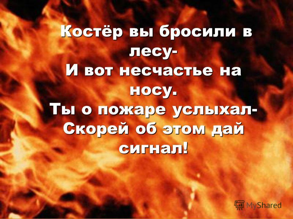 Костёр вы бросили в лесу- Костёр вы бросили в лесу- И вот несчастье на носу. Ты о пожаре услыхал- Скорей об этом дай сигнал!