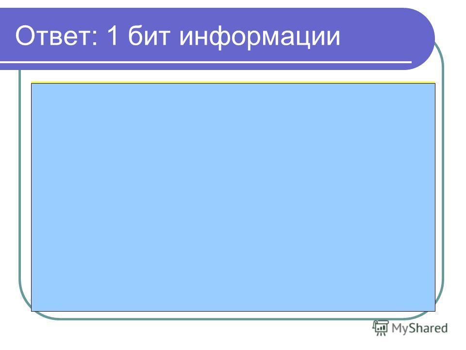 Ответ: 1 бит информации Решение: Количество работающих сигналов по условию задачи – 2: зеленый и желтый. Загорелся один из двух возможных, а значит неопределенность знаний уменьшилась в 2 раза. Отсюда ответ- 1 бит. N=2 => I=1 бит