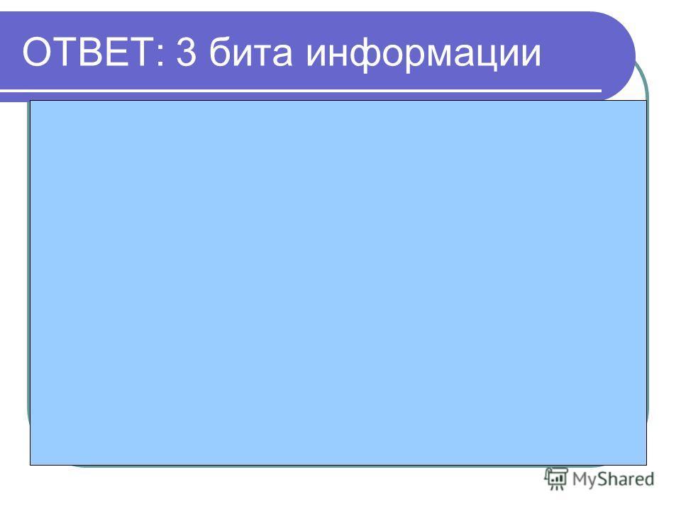 ОТВЕТ: 3 бита информации Общее количество вариантов N= 8 буквам, а значит I=3 битам
