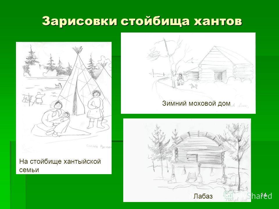 Зарисовки стойбища хантов 14 ЗимнийЗимний моховой дом ЛЛабаз На стойбище хантыйской семьи