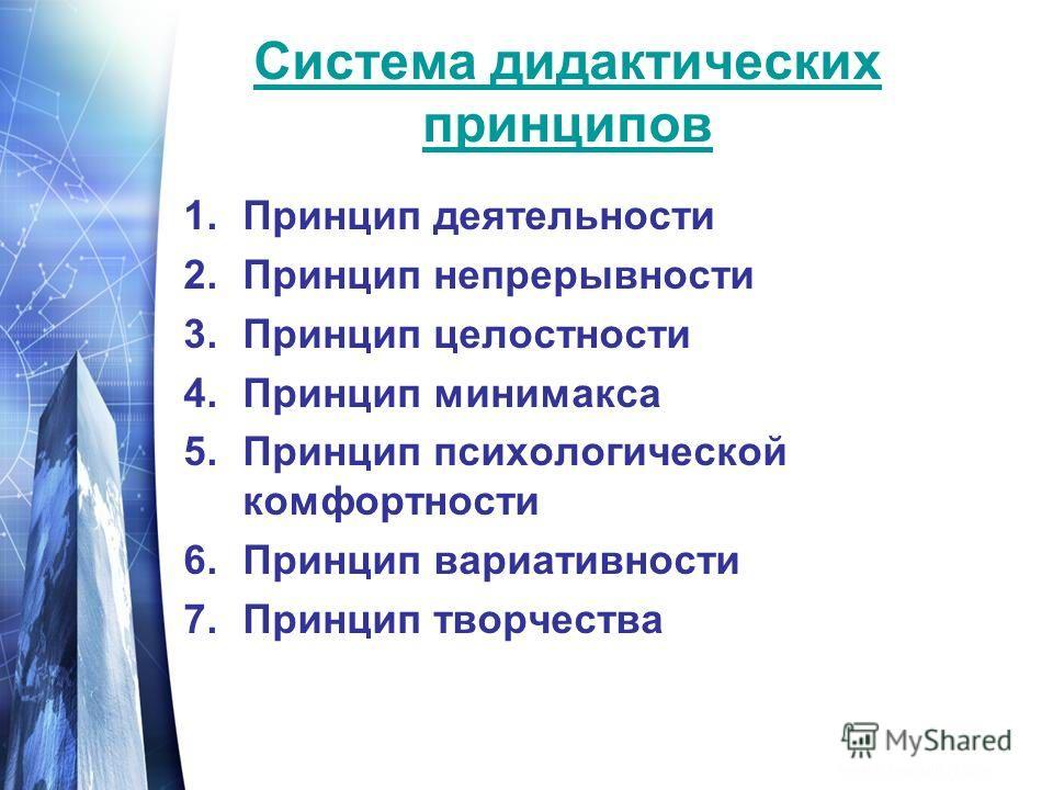 Система дидактических принципов 1.Принцип деятельности 2.Принцип непрерывности 3.Принцип целостности 4.Принцип минимакса 5.Принцип психологической комфортности 6.Принцип вариативности 7.Принцип творчества