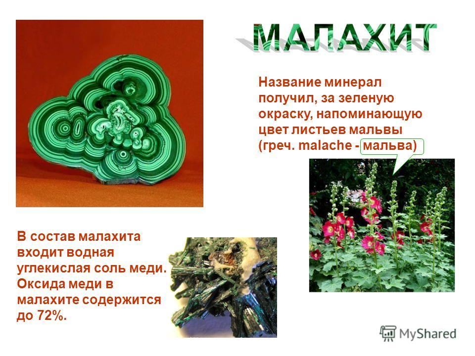 Название минерал получил, за зеленую окраску, напоминающую цвет листьев мальвы (греч. malache - мальва) В состав малахита входит водная углекислая соль меди. Оксида меди в малахите содержится до 72%.