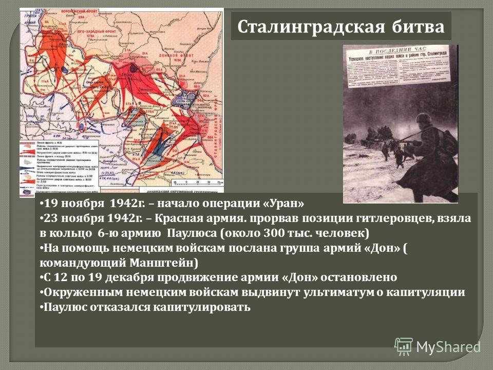 Сталинградская битва 19 ноября 1942 г. – начало операции « Уран » 23 ноября 1942 г. – Красная армия. прорвав позиции гитлеровцев, взяла в кольцо 6- ю армию Паулюса ( около 300 тыс. человек ) На помощь немецким войскам послана группа армий « Дон » ( к