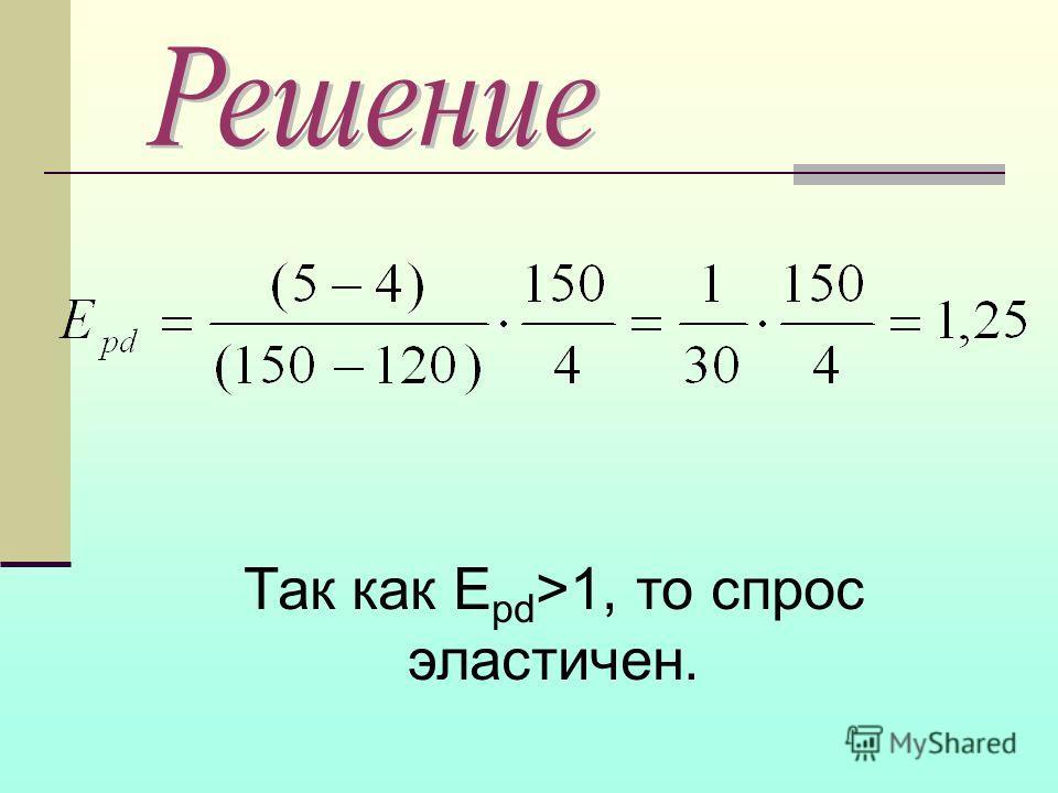 Так как E pd >1, то спрос эластичен.