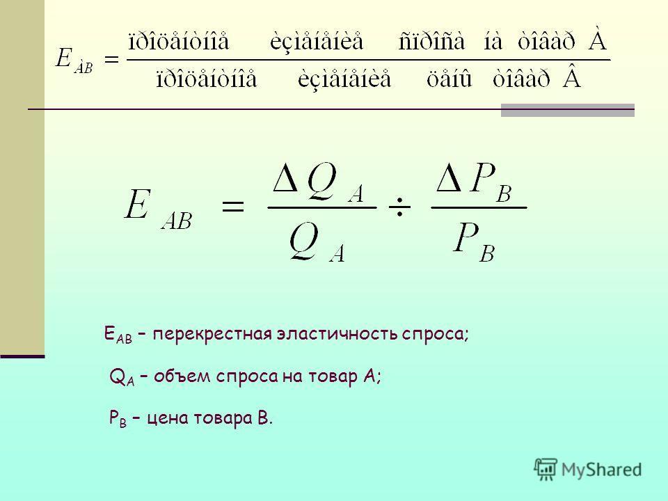 E АВ – перекрестная эластичность спроса; Q A – объем спроса на товар А; Р В – цена товара В.
