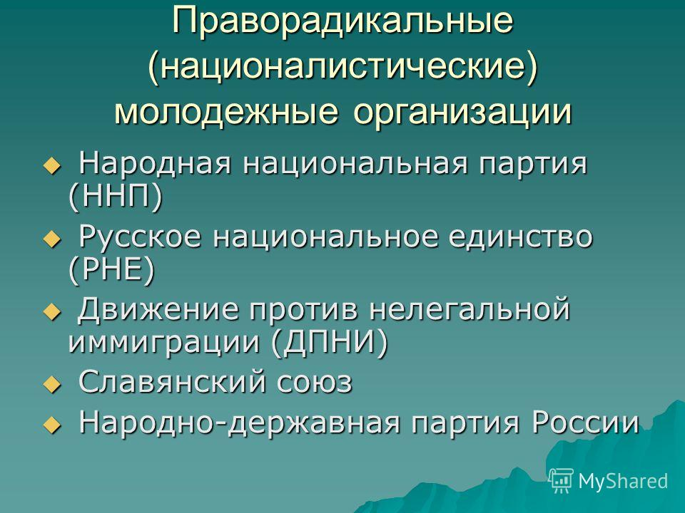 Праворадикальные (националистические) молодежные организации Народная национальная партия (ННП) Народная национальная партия (ННП) Русское национальное единство (РНЕ) Русское национальное единство (РНЕ) Движение против нелегальной иммиграции (ДПНИ) Д
