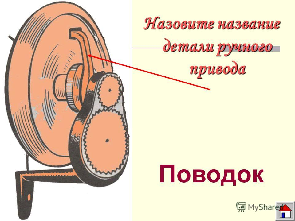 Назовите название детали ручного привода Поводок