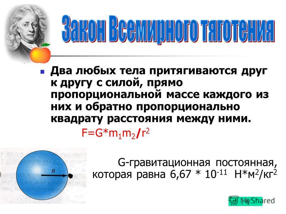 Два любых тела притягиваются друг к другу с силой, прямо пропорциональной массе каждого из них и обратно пропорционально квадрату расстояния между ними. F=G*m 1 m 2 /r 2 G-гравитационная постоянная, которая равна 6,67 * 10 -11 Н*м 2 /кг 2