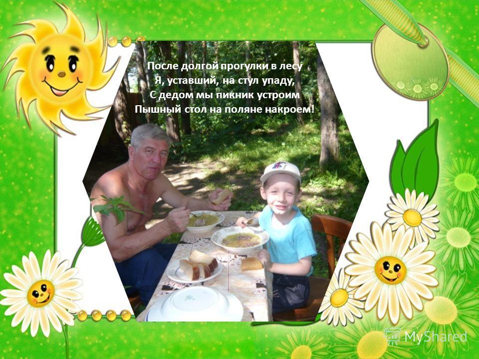 После долгой прогулки в лесу Я, уставший, на стул упаду, С дедом мы пикник устроим Пышный стол на поляне накроем!