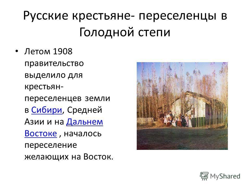 Русские крестьяне- переселенцы в Голодной степи Летом 1908 правительство выделило для крестьян- переселенцев земли в Сибири, Средней Азии и на Дальнем Востоке, началось переселение желающих на Восток.СибириДальнем Востоке