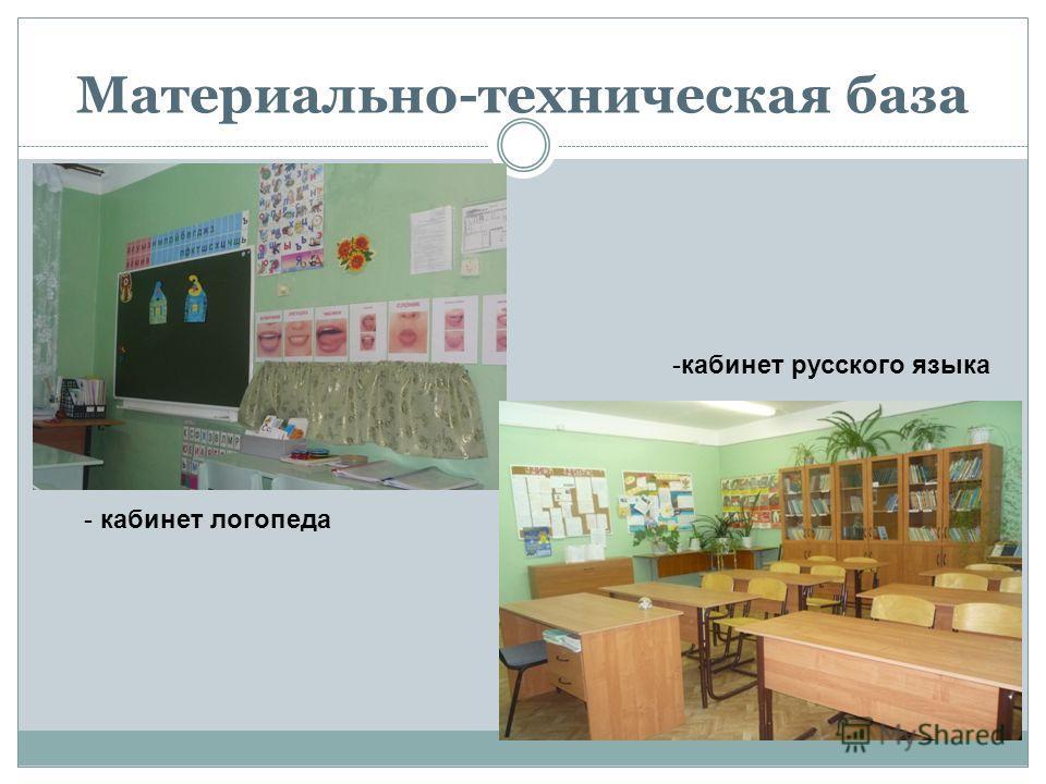 Материально-техническая база - кабинет логопеда -кабинет русского языка