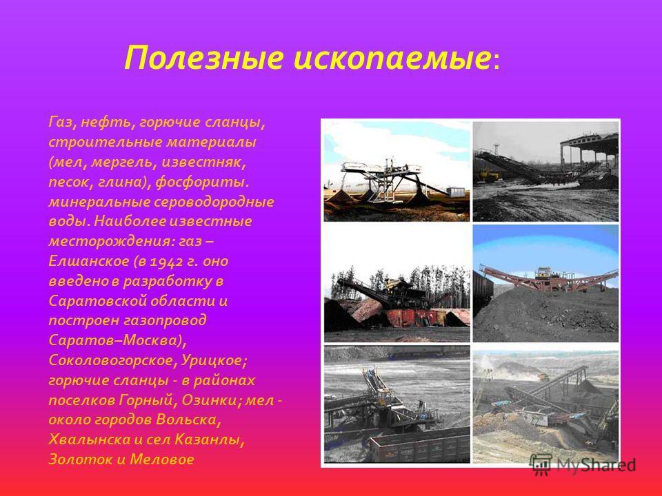 Полезные ископаемые: Газ, нефть, горючие сланцы, строительные материалы (мел, мергель, известняк, песок, глина), фосфориты. минеральные сероводородные воды. Наиболее известные месторождения: газ – Елшанское (в 1942 г. оно введено в разработку в Сарат