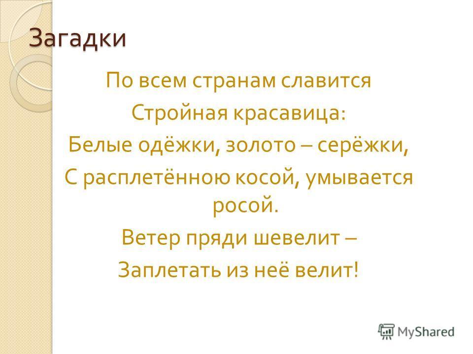 Загадки По всем странам славится Стройная красавица : Белые одёжки, золото – серёжки, С расплетённою косой, умывается росой. Ветер пряди шевелит – Заплетать из неё велит !