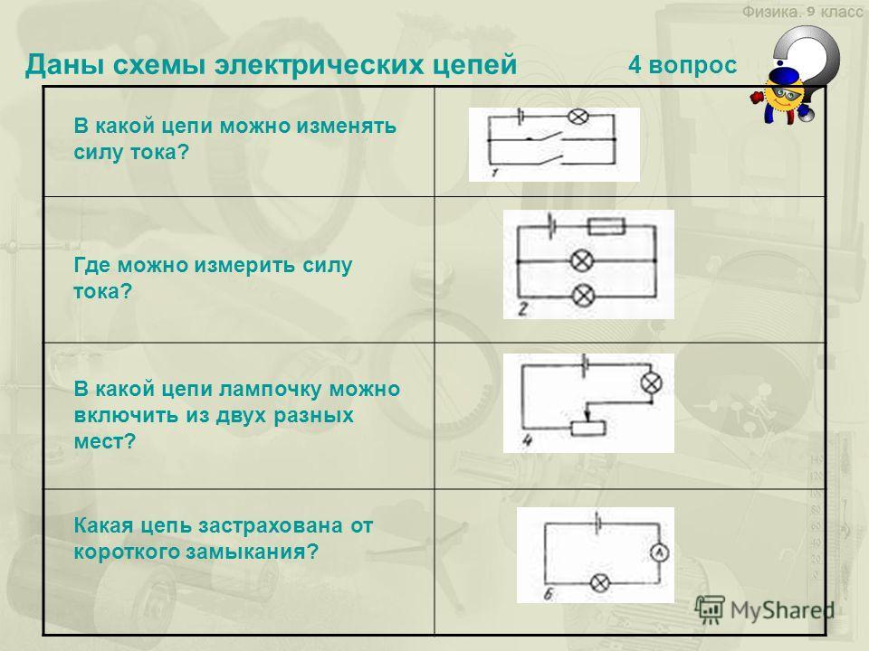 Даны схемы электрических цепей