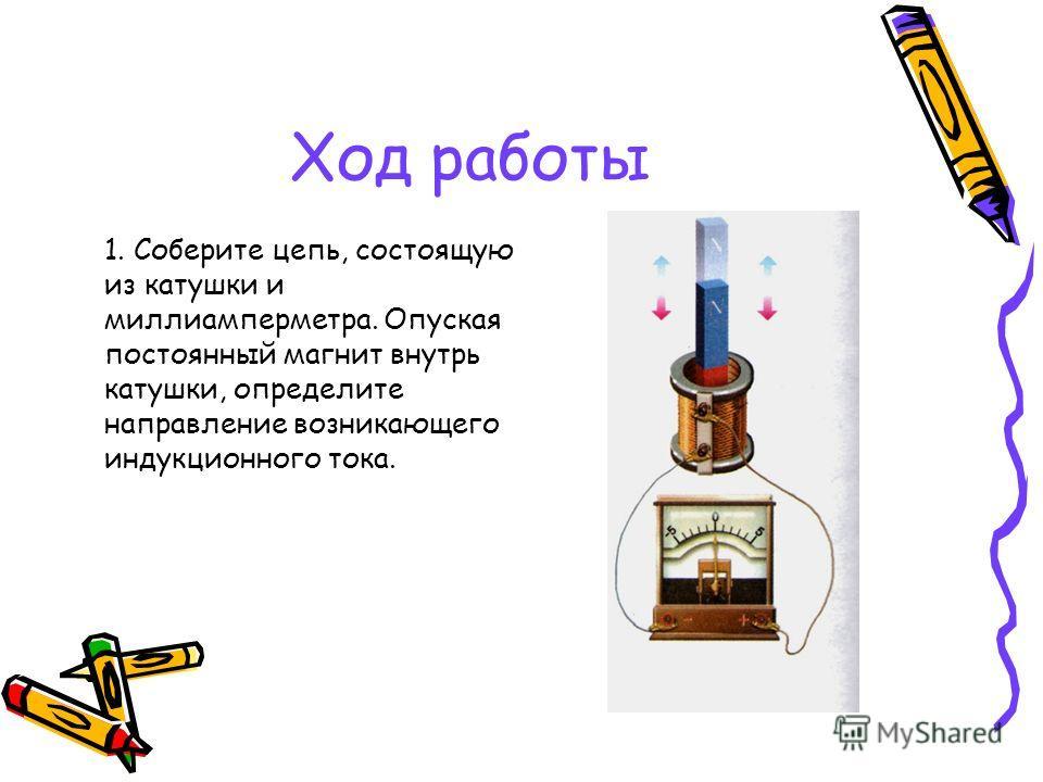 Ход работы 1. Соберите цепь, состоящую из катушки и миллиамперметра. Опуская постоянный магнит внутрь катушки, определите направление возникающего индукционного тока.