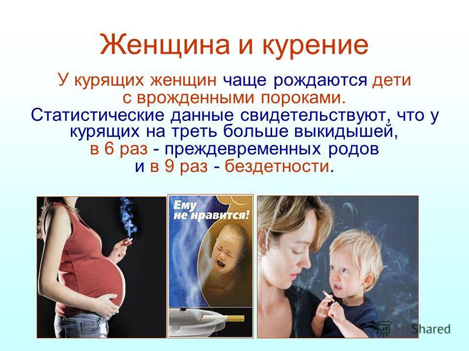 Женщина и курение У курящих женщин чаще рождаются дети с врожденными пороками. Статистические данные свидетельствуют, что у курящих на треть больше вы