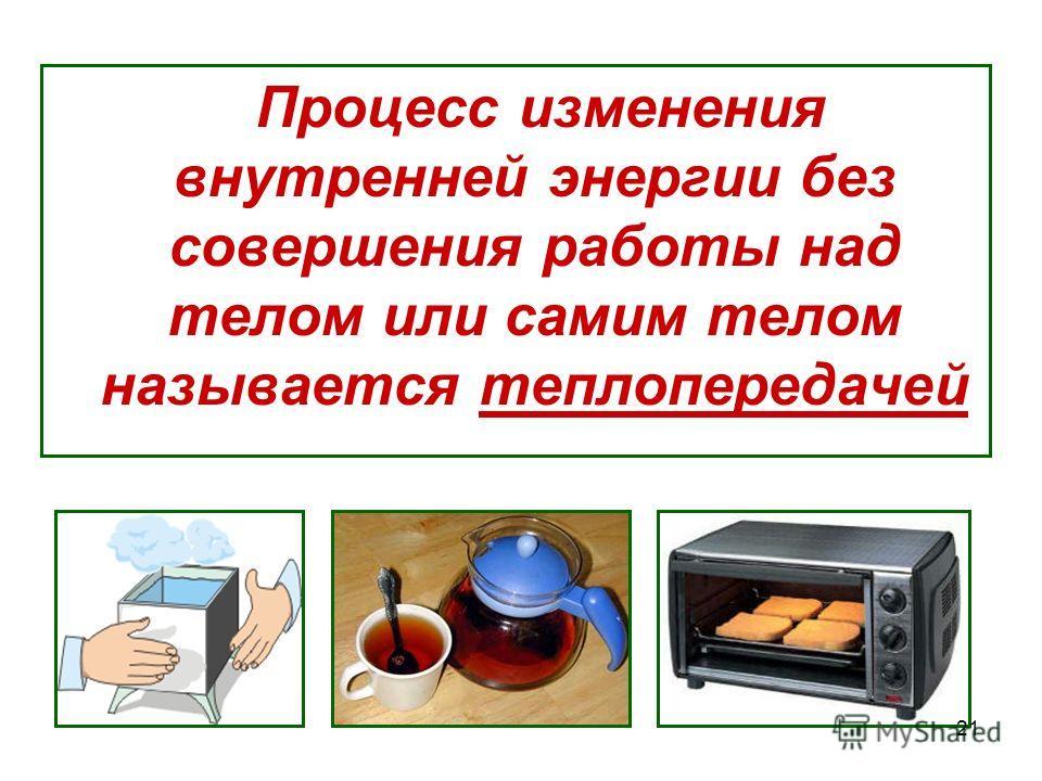Процесс изменения внутренней энергии без совершения работы над телом или самим телом называется теплопередачей 21