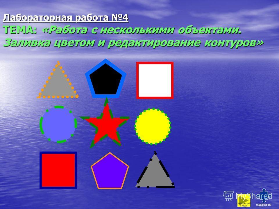 Лабораторная работа 4 ТЕМА: «Работа с несколькими объектами. Заливка цветом и редактирование контуров» содержание следующий слайд