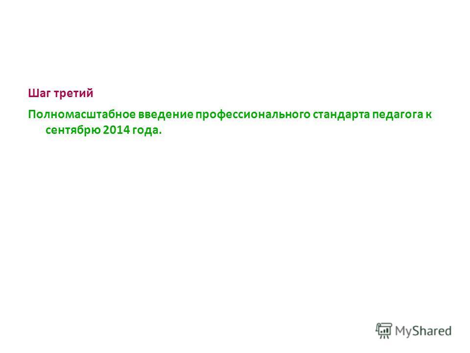 Шаг третий Полномасштабное введение профессионального стандарта педагога к сентябрю 2014 года.