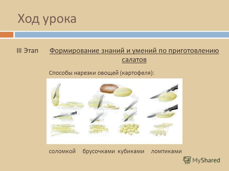 Ход урока III ЭтапФормирование знаний и умений по приготовлению салатов Способы нарезки овощей ( картофеля ): соломкой брусочками кубиками ломтиками