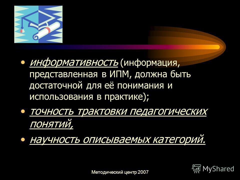 Методический центр 2007 информативность (информация, представленная в ИПМ, должна быть достаточной для её понимания и использования в практике); точность трактовки педагогических понятий, научность описываемых категорий.