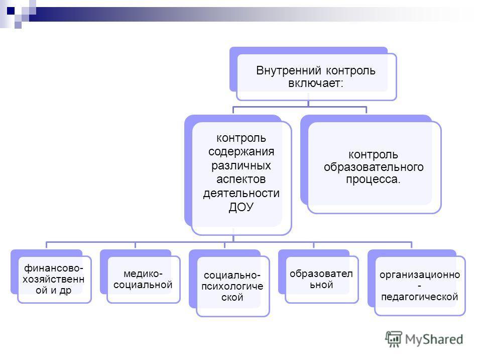 Внутренний контроль включает: