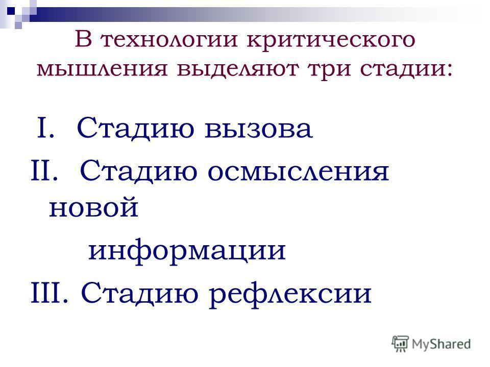В технологии критического мышления выделяют три стадии: I. Стадию вызова II. Стадию осмысления новой информации III. Стадию рефлексии