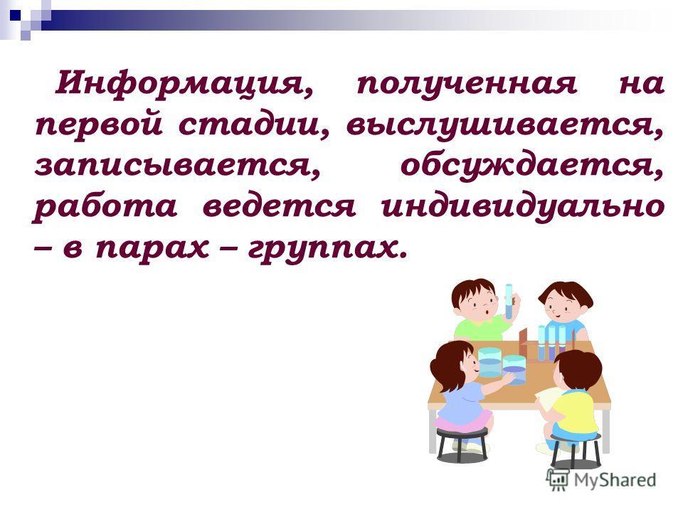 Информация, полученная на первой стадии, выслушивается, записывается, обсуждается, работа ведется индивидуально – в парах – группах.