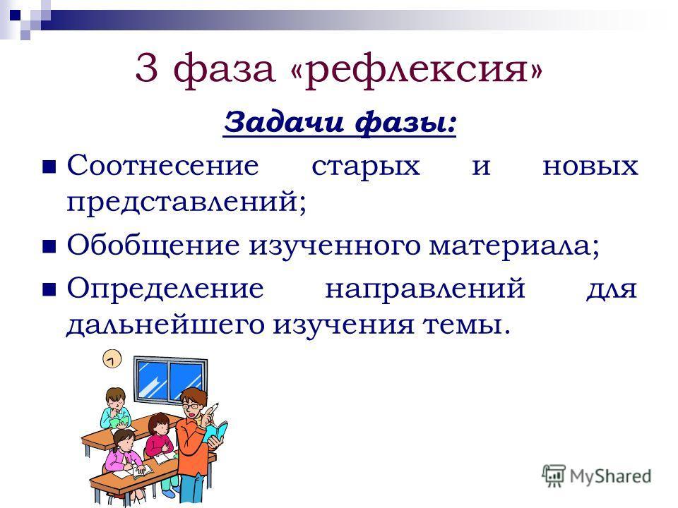 3 фаза «рефлексия» Задачи фазы: Соотнесение старых и новых представлений; Обобщение изученного материала; Определение направлений для дальнейшего изучения темы.