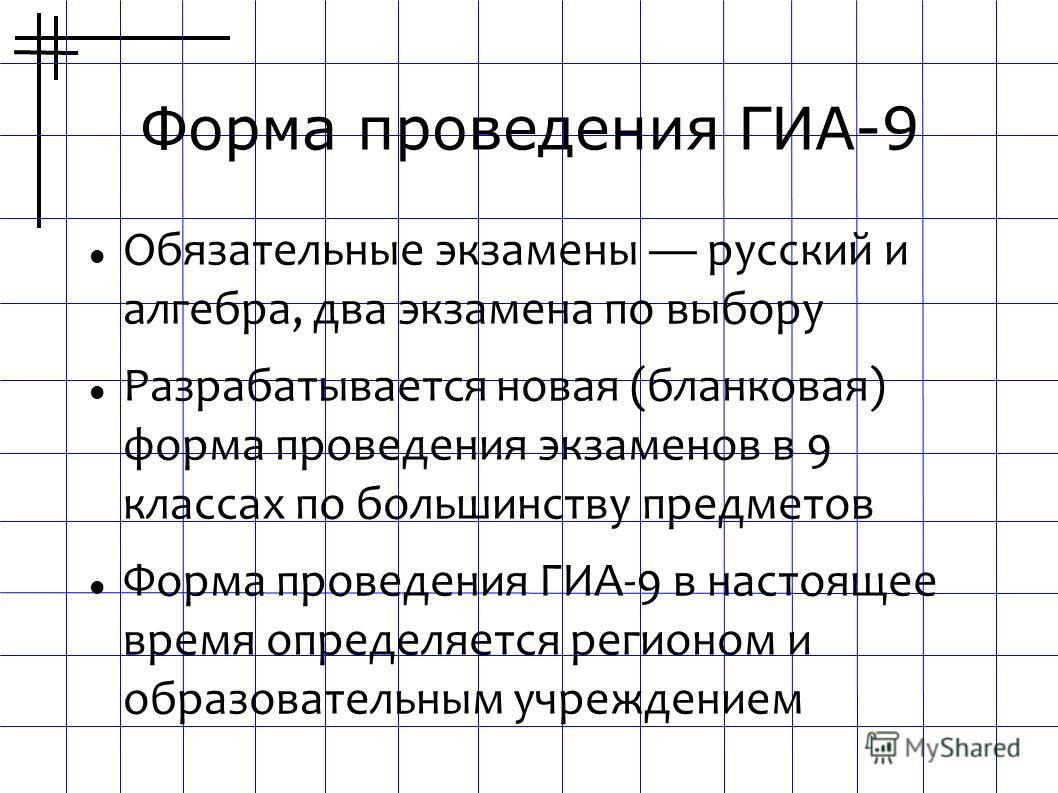 Форма проведения ГИА-9 Обязательные экзамены русский и алгебра, два экзамена по выбору Разрабатывается новая (бланковая) форма проведения экзаменов в 9 классах по большинству предметов Форма проведения ГИА-9 в настоящее время определяется регионом и