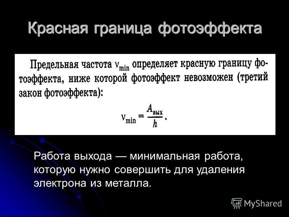 Красная граница фотоэффекта Работа выхода минимальная работа, которую нужно совершить для удаления электрона из металла.