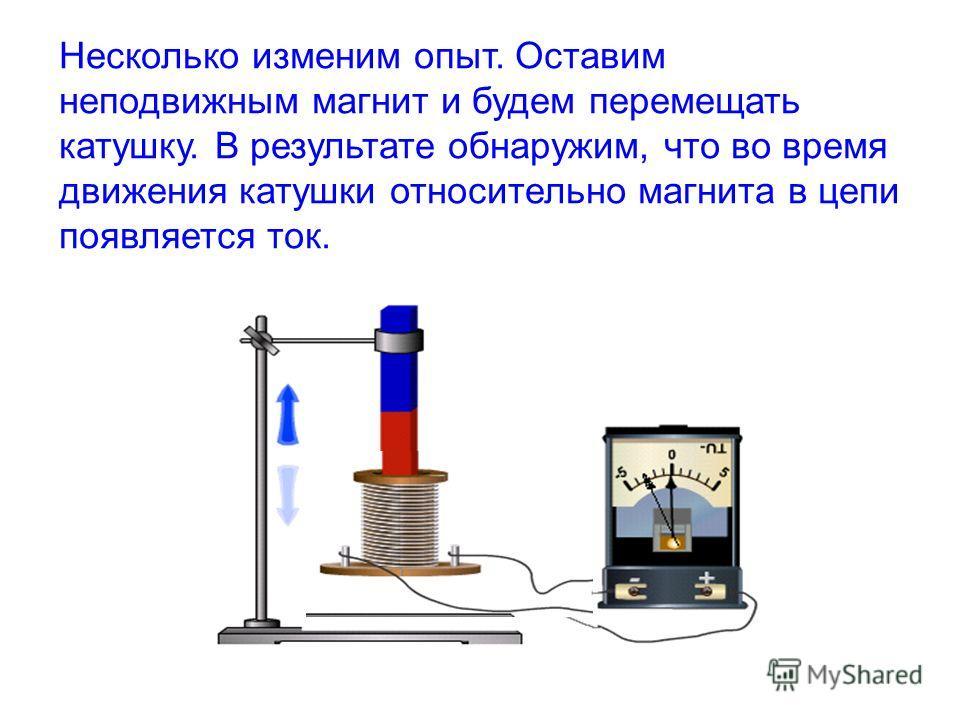 Несколько изменим опыт. Оставим неподвижным магнит и будем перемещать катушку. В результате обнаружим, что во время движения катушки относительно магнита в цепи появляется ток.