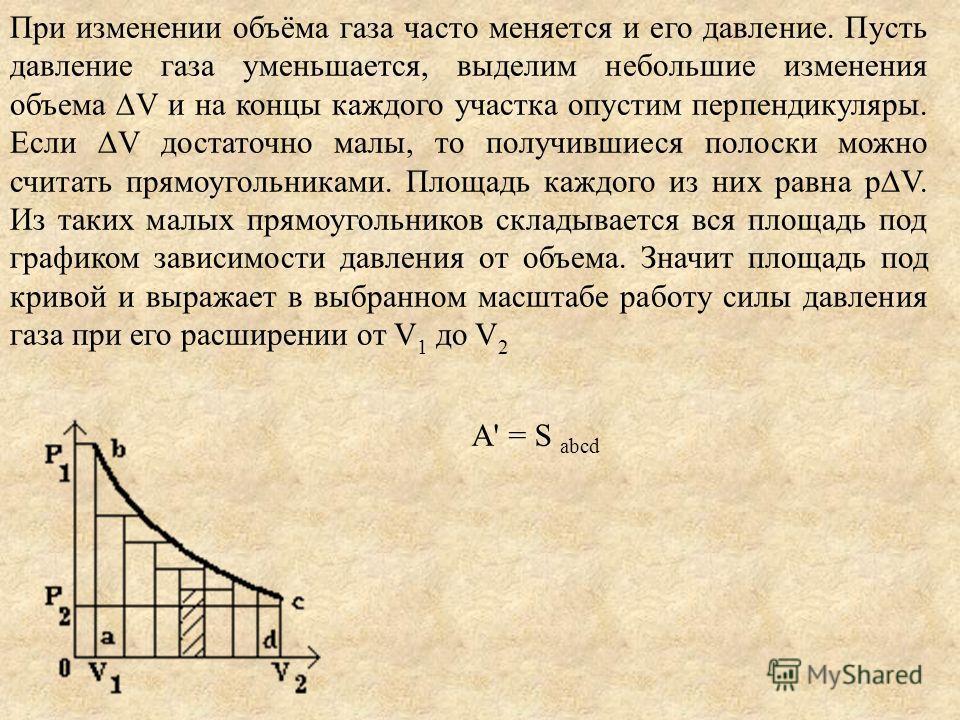 A' = S abcd При изменении объёма газа часто меняется и его давление. Пусть давление газа уменьшается, выделим небольшие изменения объема V и на концы каждого участка опустим перпендикуляры. Если V достаточно малы, то получившиеся полоски можно считат