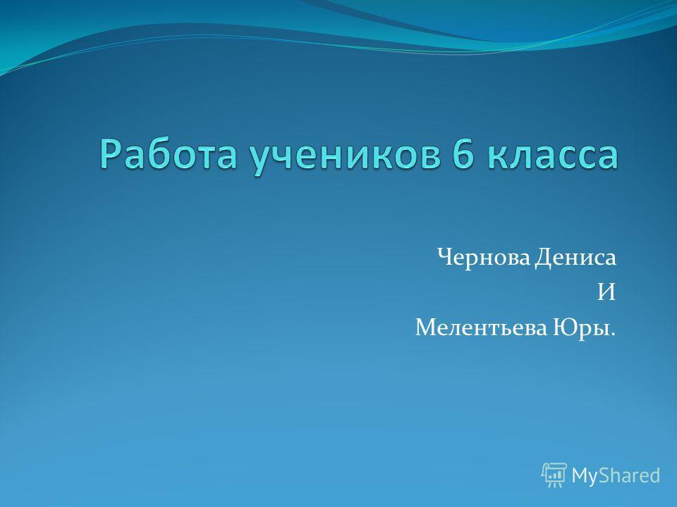Чернова Дениса И Мелентьева Юры.