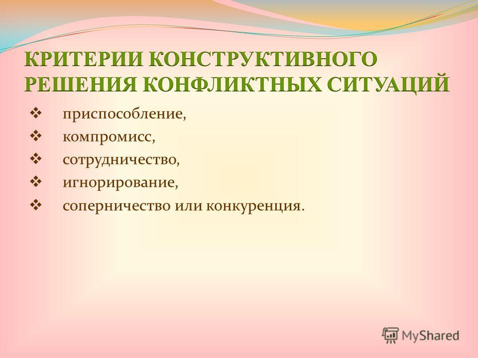 приспособление, компромисс, сотрудничество, игнорирование, соперничество или конкуренция.