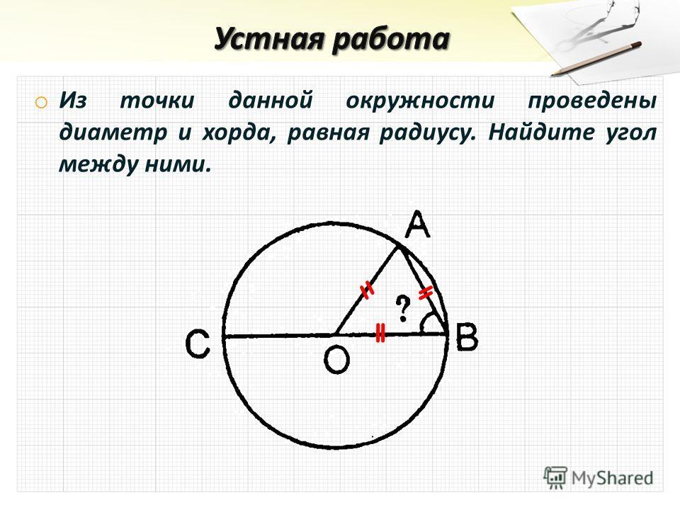 o Из точки данной окружности проведены диаметр и хорда, равная радиусу. Найдите угол между ними.