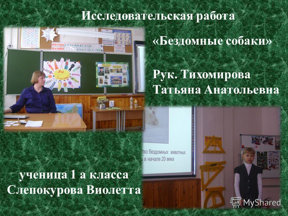 «Бездомные собаки» Рук. Тихомирова Татьяна Анатольевна Исследовательская работа ученица 1 а класса Слепокурова Виолетта