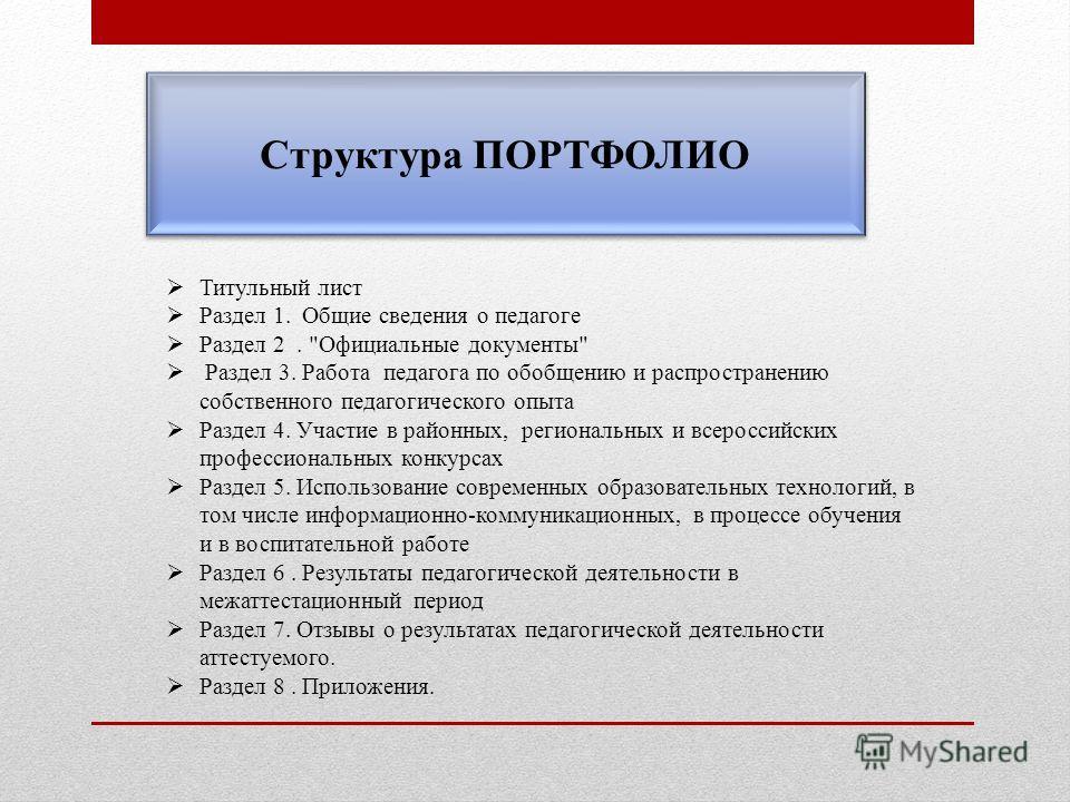 Структура ПОРТФОЛИО Титульный лист Раздел 1. Общие сведения о педагоге Раздел 2.
