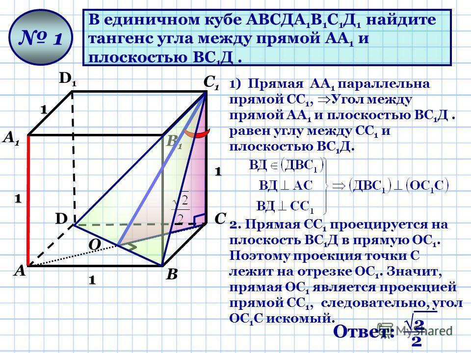 В единичном кубе АВСДА 1 В 1 С 1 Д 1 найдите тангенс угла между прямой АА 1 и плоскостью ВС 1 Д. D D1D1 А А1А1 В В1В1 С С1С1 1 1 1 1 1 1) Прямая AА 1 параллельна прямой СС 1, Угол между прямой АА 1 и плоскостью ВС 1 Д. равен углу между СС 1 и плоскос