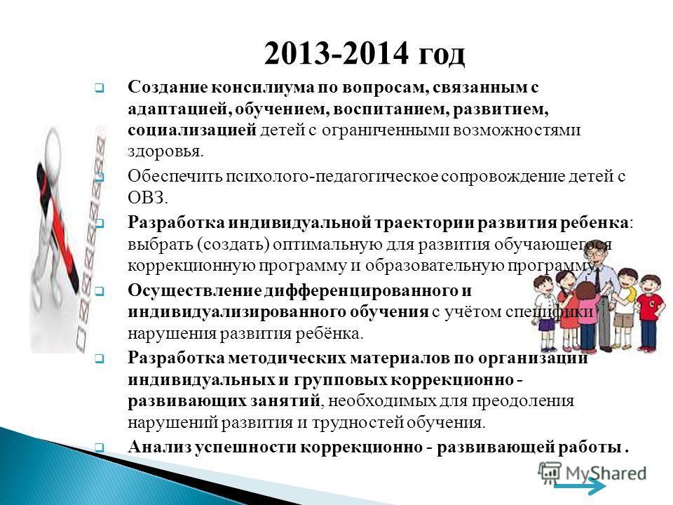2013-2014 год Создание консилиума по вопросам, связанным с адаптацией, обучением, воспитанием, развитием, социализацией детей с ограниченными возможностями здоровья. Обеспечить психолого-педагогическое сопровождение детей с ОВЗ. Разработка индивидуал