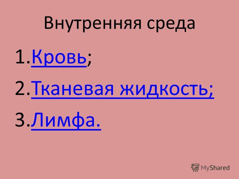 Внутренняя среда 1.Кровь;Кровь 2.Тканевая жидкость;Тканевая жидкость; 3.Лимфа.Лимфа.