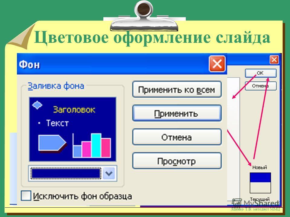 Яценко Т.В. методист ММЦ Цветовое оформление слайда нажать