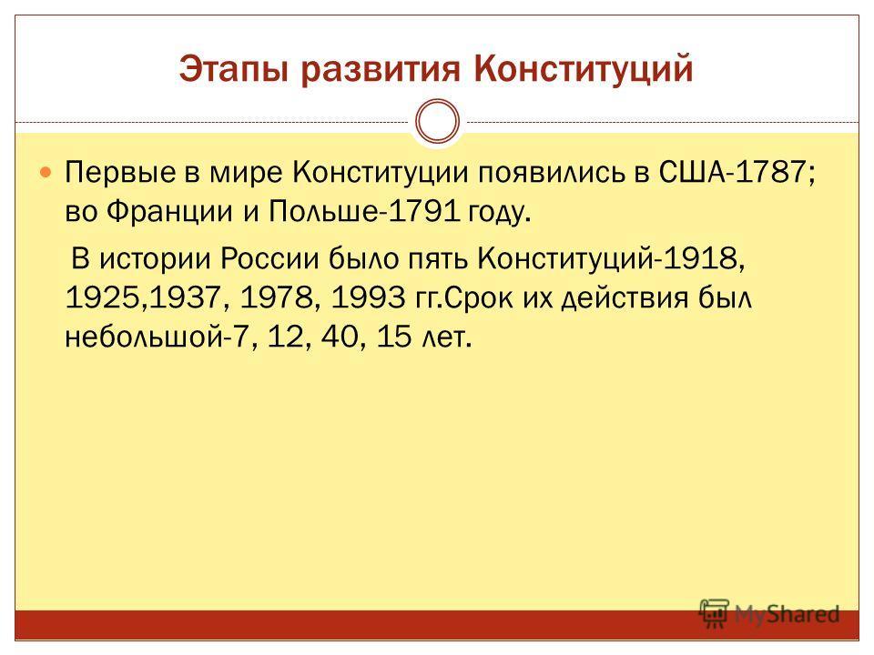 Этапы развития Конституций Первые в мире Конституции появились в США-1787; во Франции и Польше-1791 году. В истории России было пять Конституций-1918, 1925,1937, 1978, 1993 гг.Срок их действия был небольшой-7, 12, 40, 15 лет.