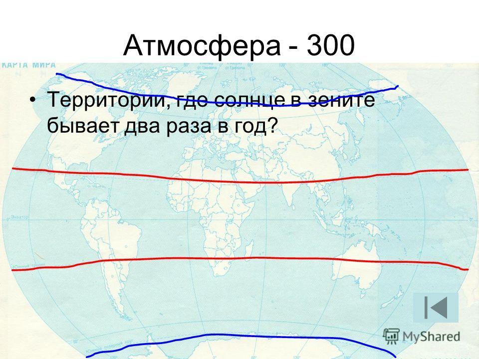 Атмосфера - 300 Территории, где солнце в зените бывает два раза в год?