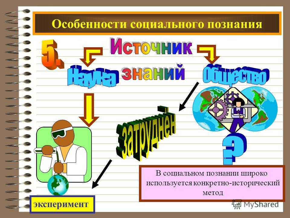 Особенности социального познания В социальном познании широко используется конкретно-исторический метод эксперимент