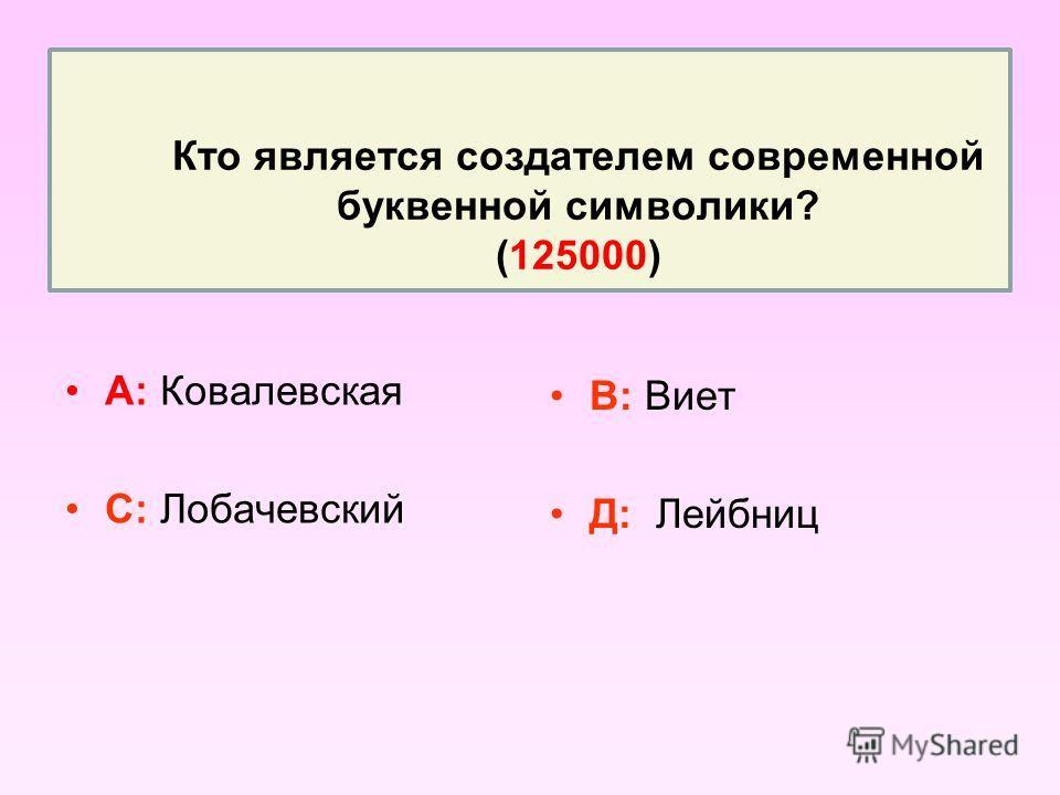 Кто является создателем современной буквенной символики? (125000) А: Ковалевская С: Лобачевский В: Виет Д: Лейбниц