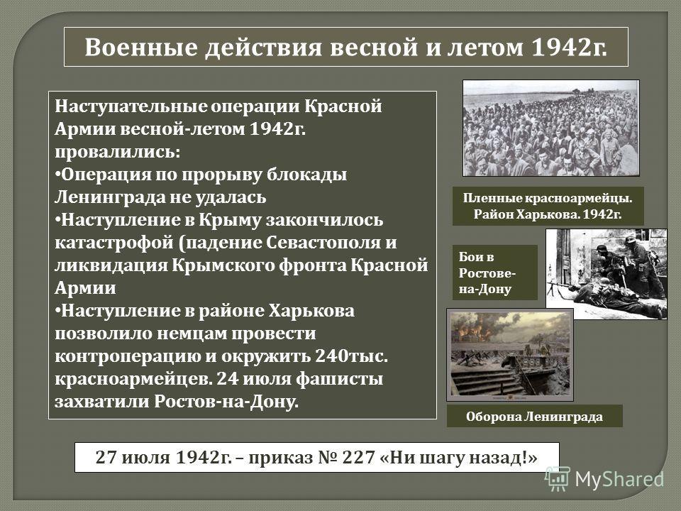 Военные действия весной и летом 1942 г. Наступательные операции Красной Армии весной - летом 1942 г. провалились : Операция по прорыву блокады Ленинграда не удалась Наступление в Крыму закончилось катастрофой ( падение Севастополя и ликвидация Крымск