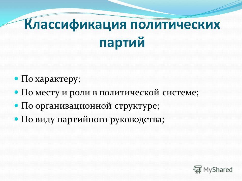 Классификация политических партий По характеру; По месту и роли в политической системе; По организационной структуре; По виду партийного руководства;
