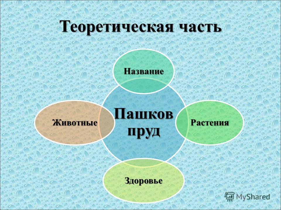 Теоретическая часть Пашков пруд Название Растения Здоровье Животные