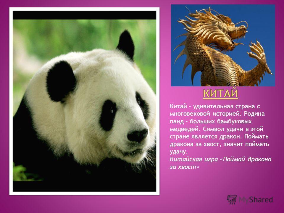 Китай – удивительная страна с многовековой историей. Родина панд – больших бамбуковых медведей. Символ удачи в этой стране является дракон. Поймать дракона за хвост, значит поймать удачу. Китайская игра «Поймай дракона за хвост»